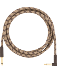 Fender Festival Hemp Instrument Cable, Straight-Angle, 10', Brown Stripe