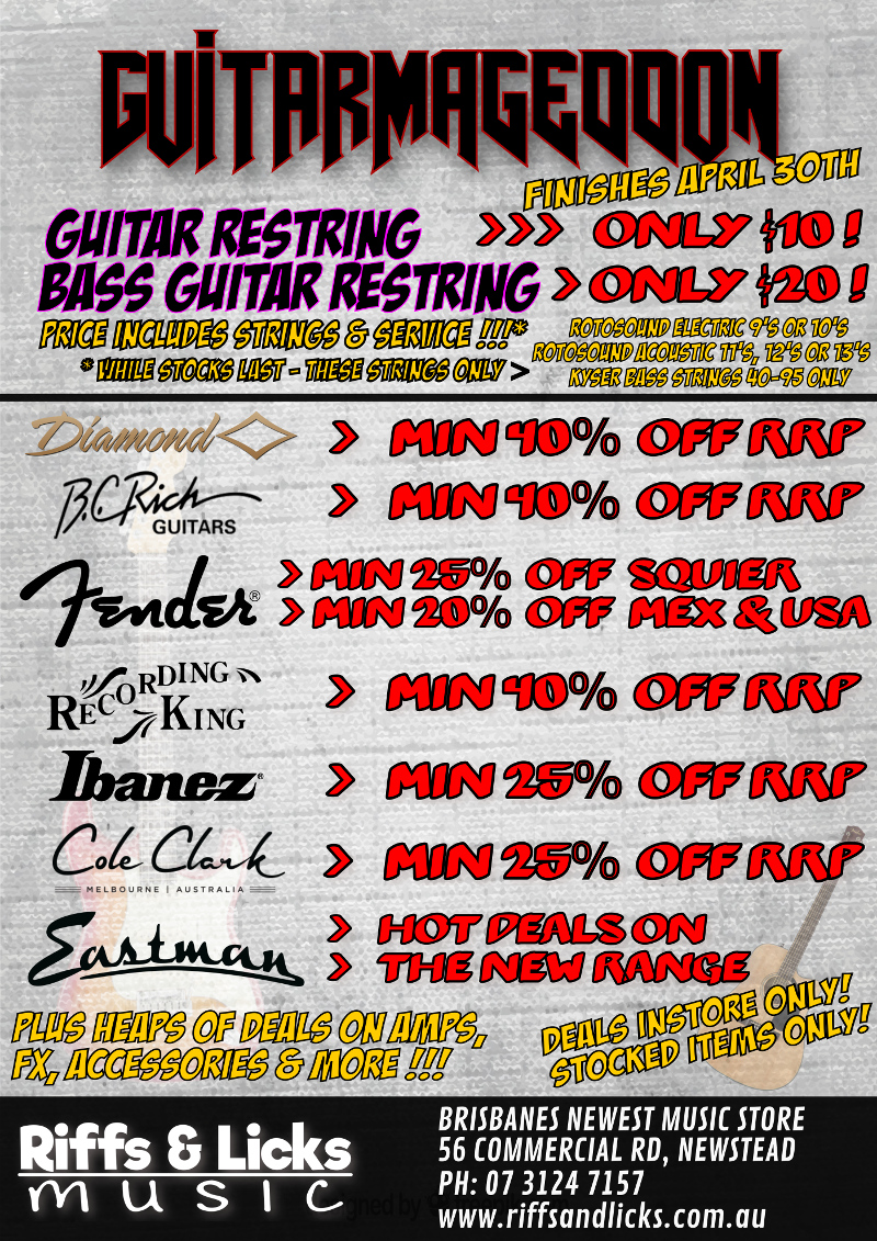 Guitarmageddon April Guitar Sale