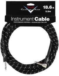 FENDER CABLE - CUSTOM SHOP 18.6ft BLACK TWEED, ANGLED