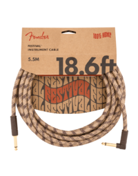 Fender Festival Hemp Instrument Cable, Straight-Angle, 18.6', Brown Stripe