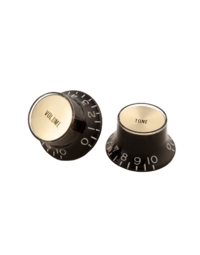 Gibson Top Hat Knobs with Gold Metal Inserts, Black (4 pcs.) - PRMK020