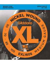 D'ADDARIO EXL160S 50-105 SHORT SCALE BASS GUITAR STRINGS