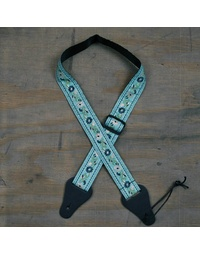 Colonial Leather Jacquard Ukulele Strap Aqua